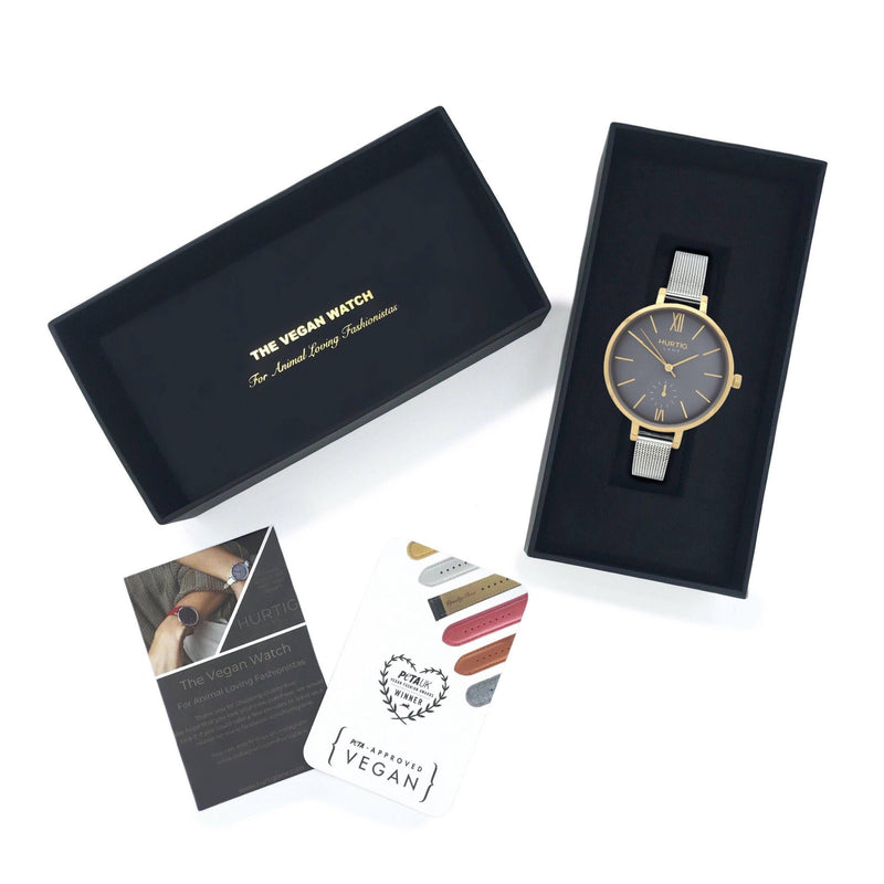 Women's vegan watch petite style gold/grey with a stainless steel mesh strap