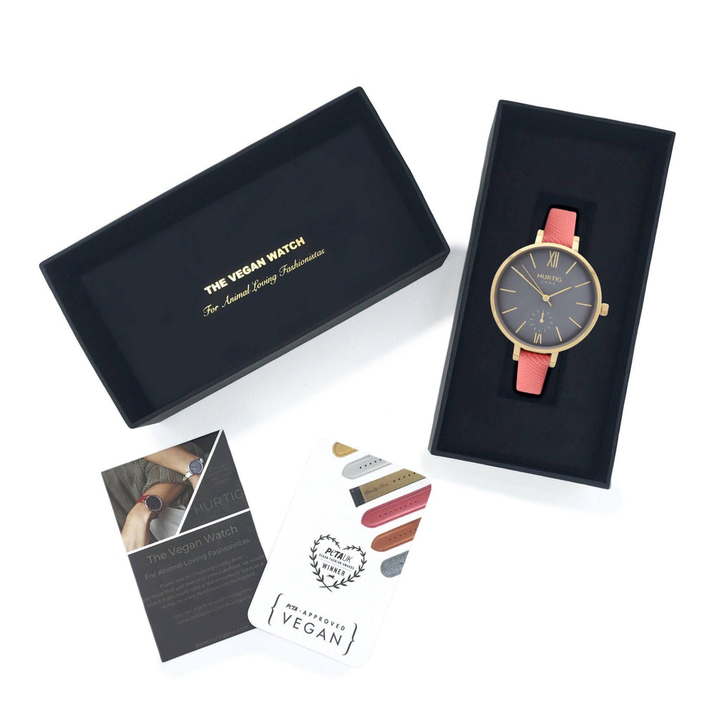 Women's vegan watch petite style gold/grey and coral pink
