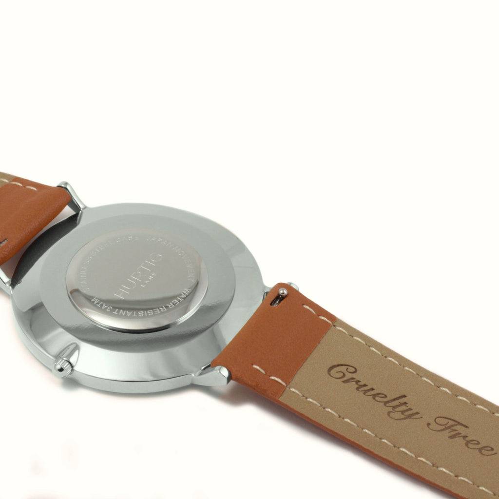 Moderna Vegan Leather Silver/White/Tan - hurtig-lane-vegan-watches