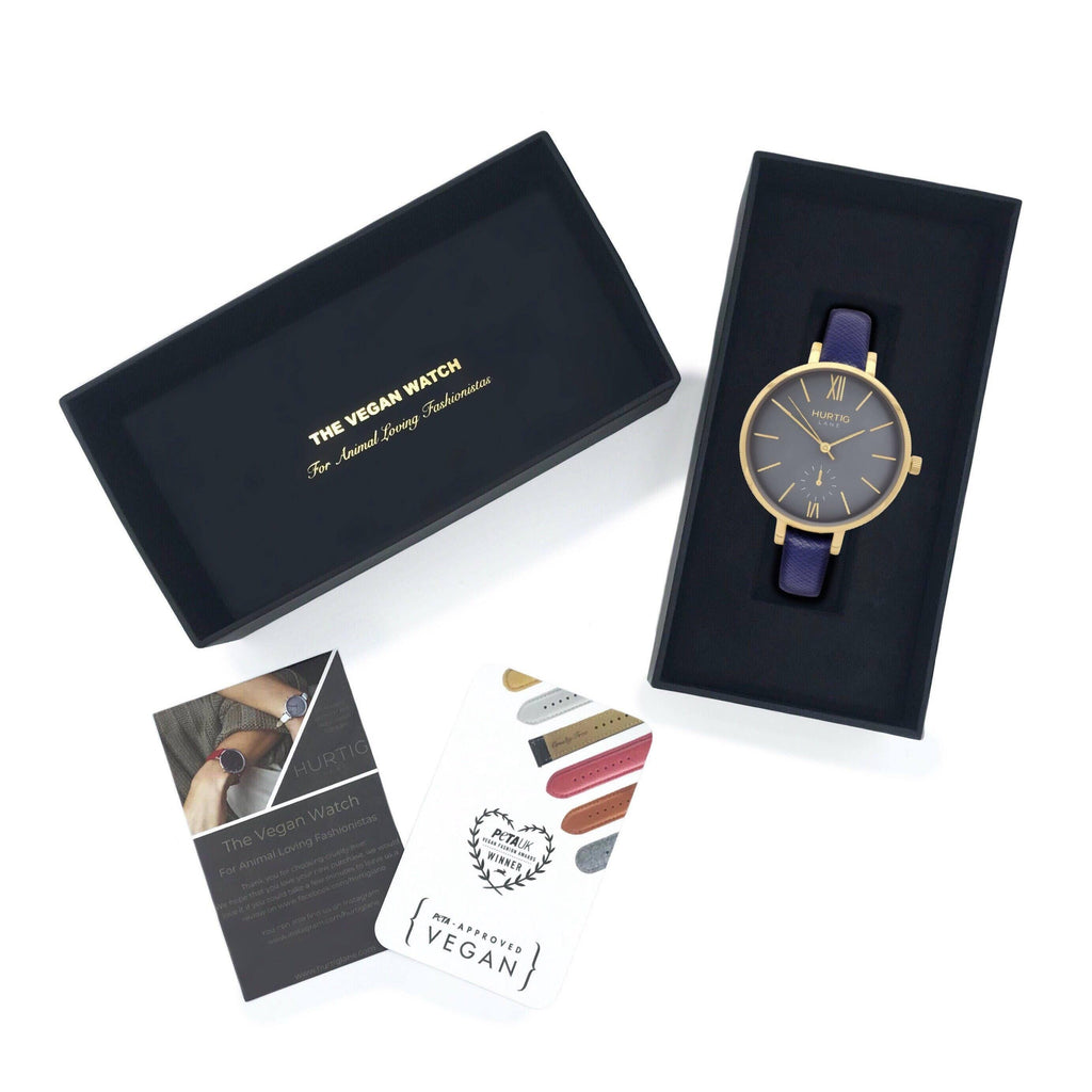 Women's vegan watch petite style gold/grey with a vegan leather dark blue strap