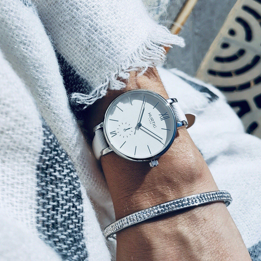 Amalfi Petite Vegan Leather Silver/White/White Watch Hurtig Lane Vegan Watches