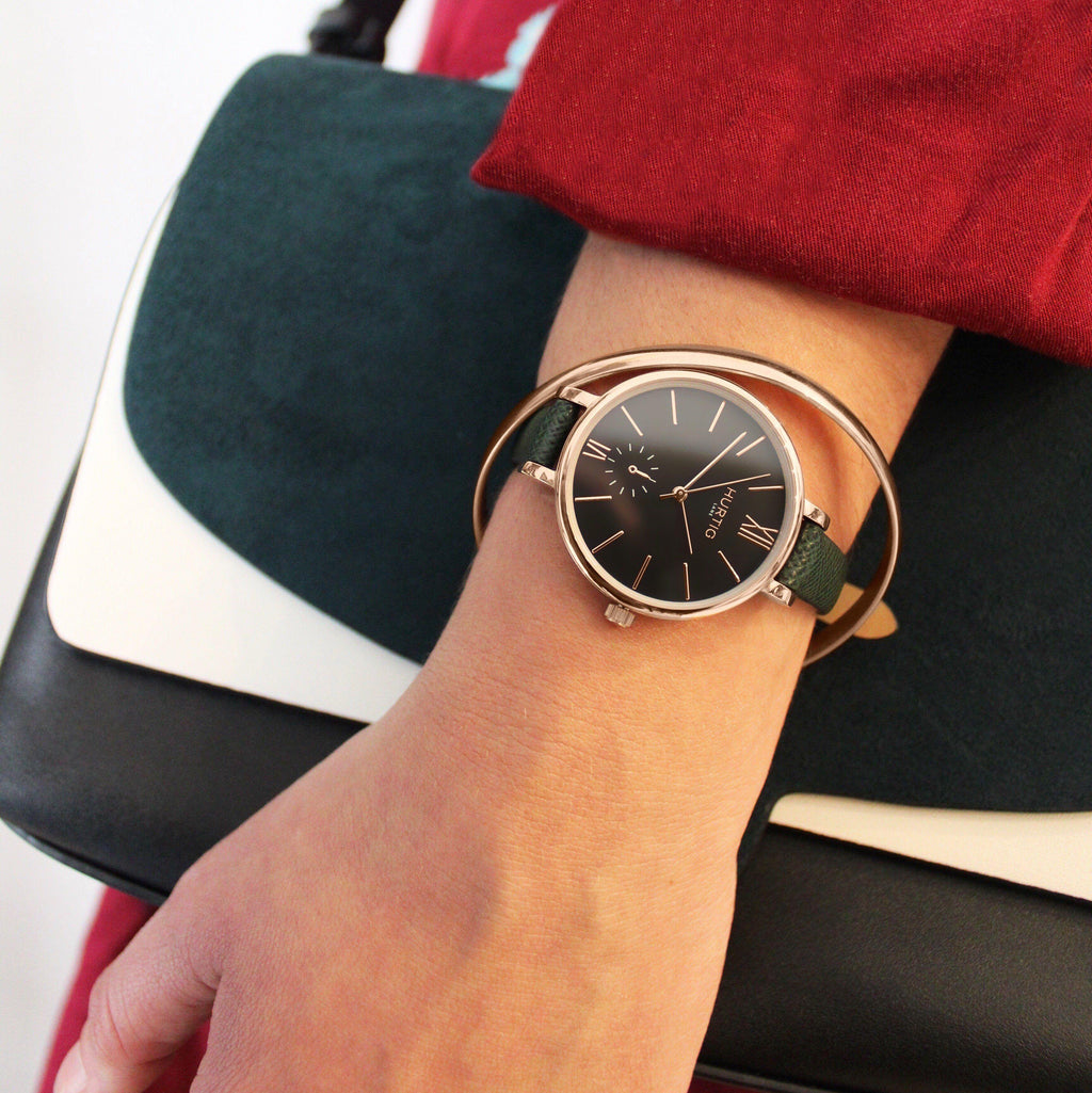 Amalfi Petite Vegan Leather Rose Gold/Black/Forest Green Watch Hurtig Lane Vegan Watches