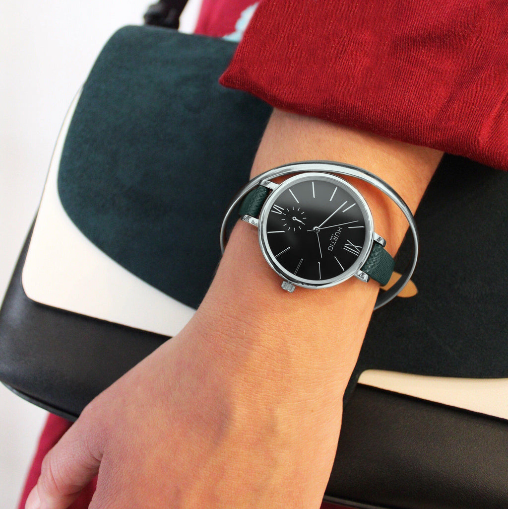 Women's Vegan Watch Silver/Black with vegan leather green straps