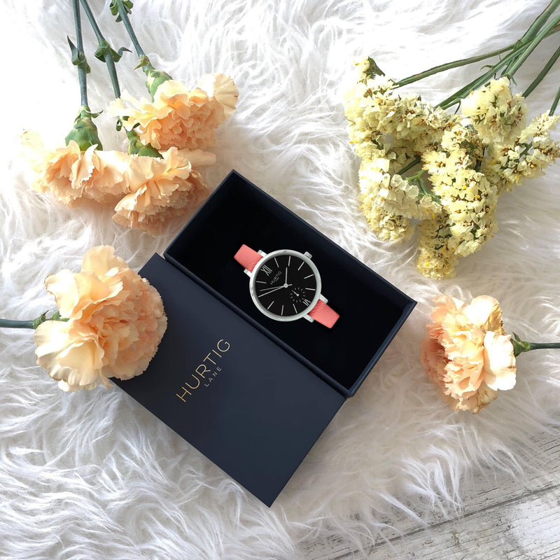 Women's Vegan Watch Silver/Black with coral pink straps. Vegan friendly gift set