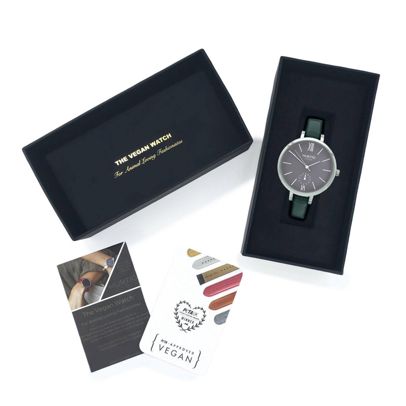 Vegan leather watch in silver/grey/green in a presentation gift box