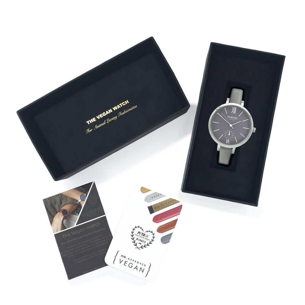 Women's grey vegan watch in gift box