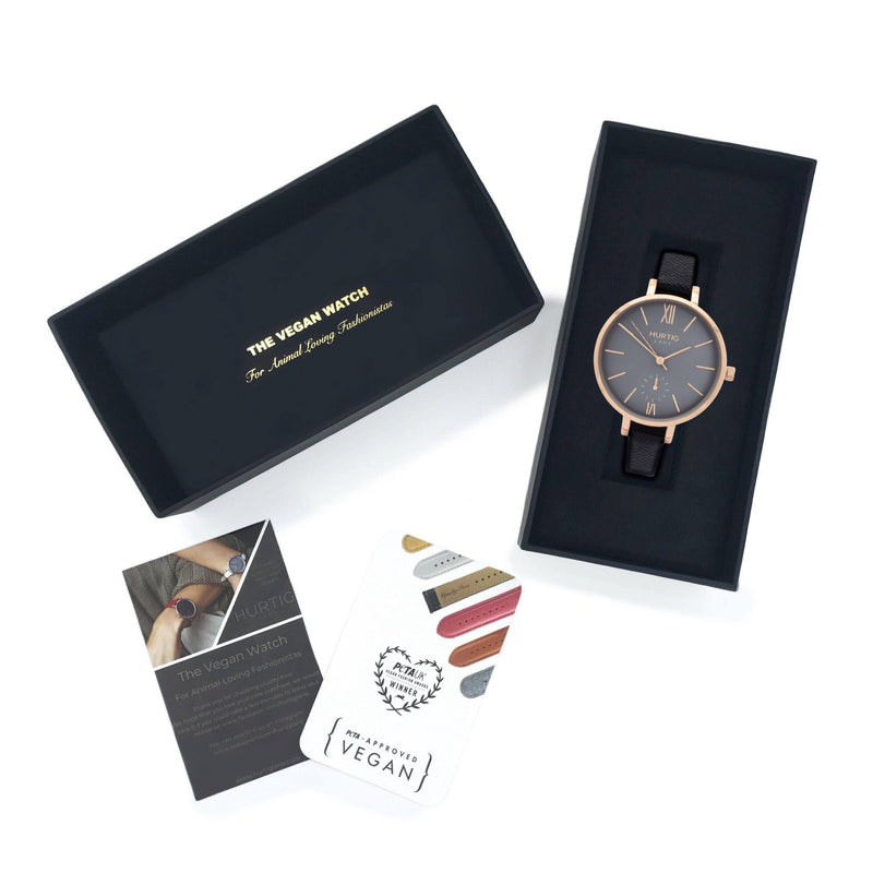 Vegan Watch for women. Rose gold/grey with vegan leather black straps