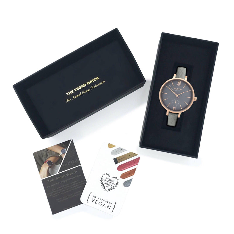 Women's vegan leather watch gift set. Rose gold/grey with grey vegan leather straps