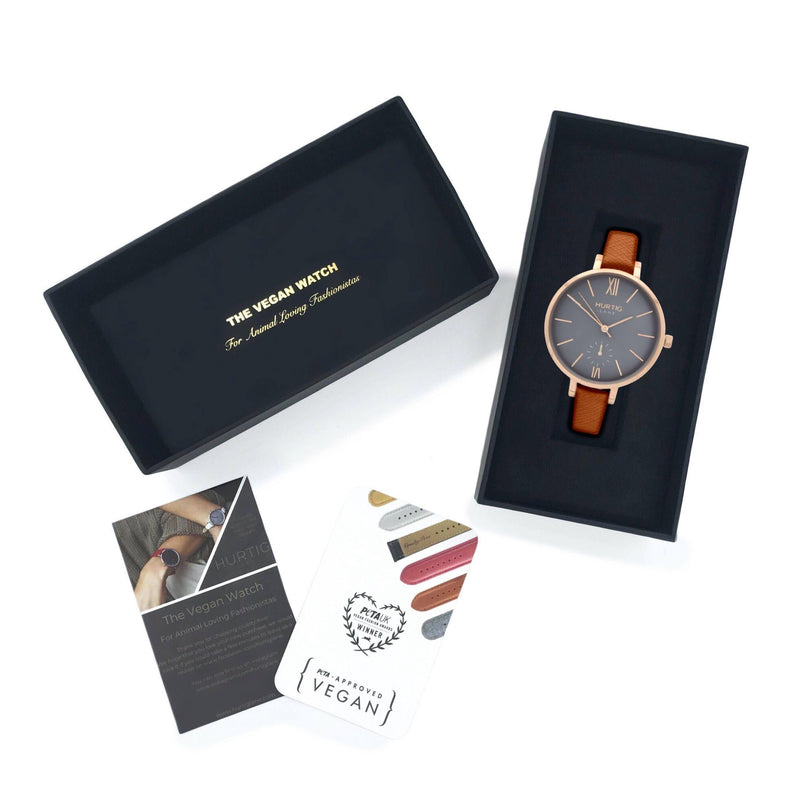 Women's petite vegan watch rose gold/grey with vegan leather tan brown straps. gift box
