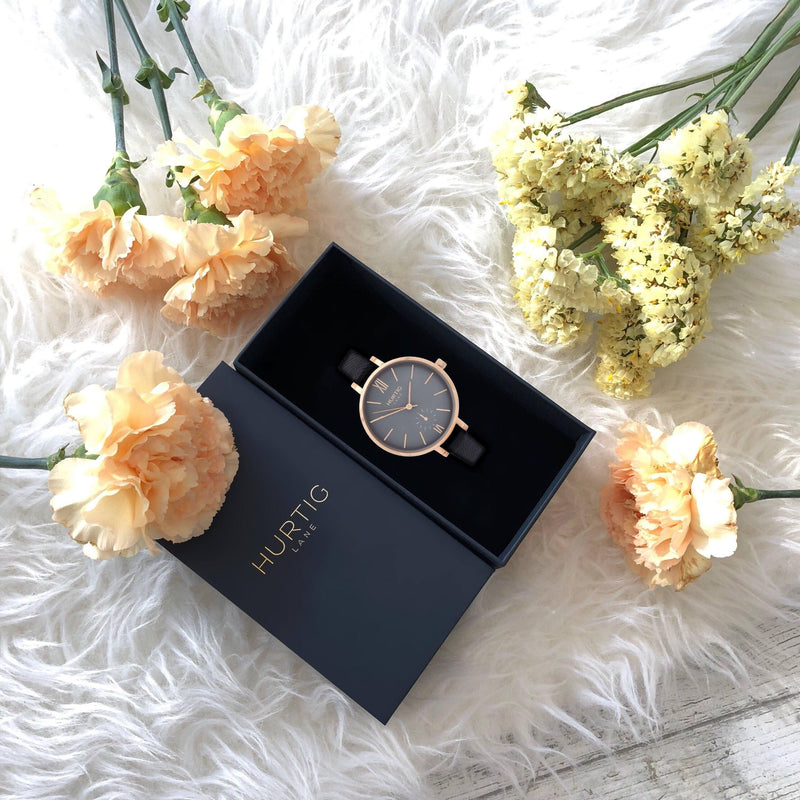 Vegan watch for women rose gold/grey with vegan leather black straps