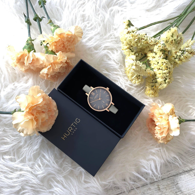 Women's vegan watch in rose gold/grey with grey vegan leather straps
