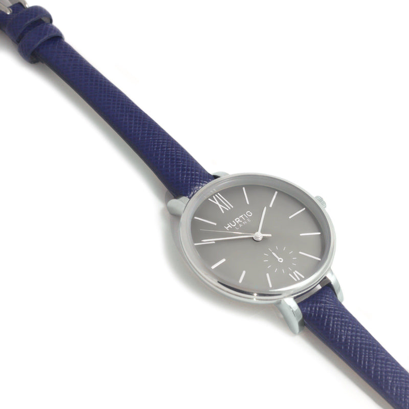 Amalfi Petite Vegan Leather Silver/Grey/Marine Blue Watch Hurtig Lane Vegan Watches