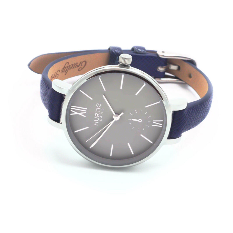 Amalfi Petite Vegan Leather Silver/Grey/Marine Blue - hurtig-lane-vegan-watches
