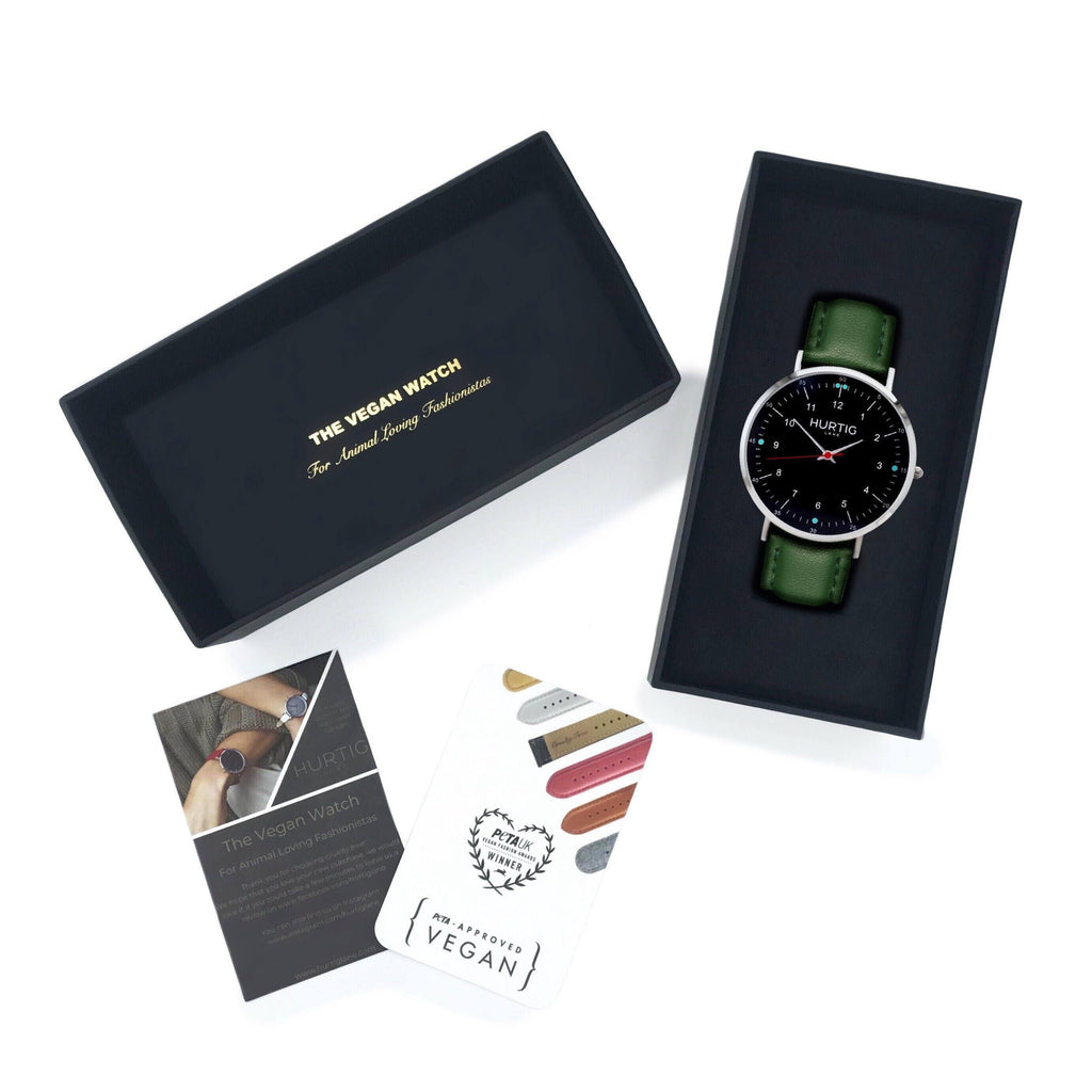 vegan watch gift set with silver/black and green
