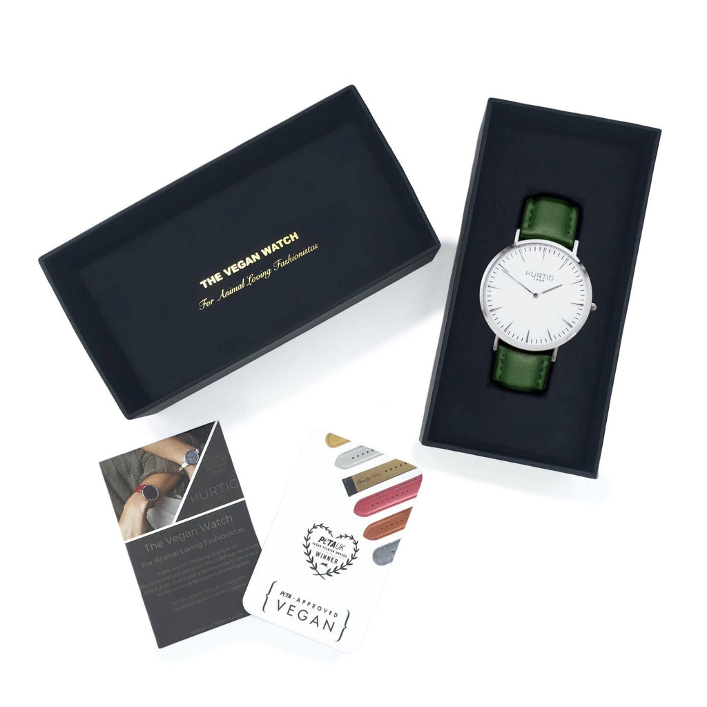 Vegan watch gift set silver /white with green leather straps