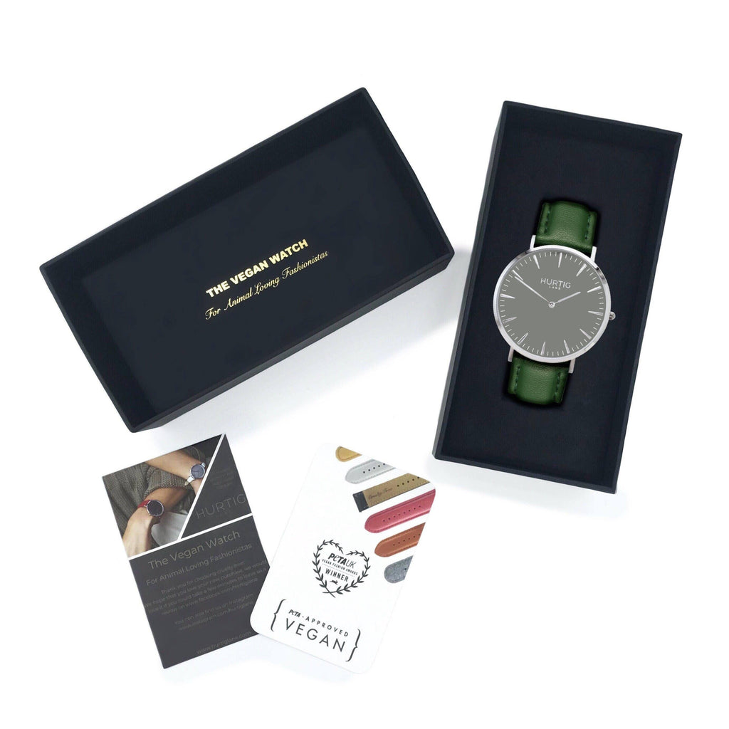vegan watch gift set silver/grey and vegan leather green straps