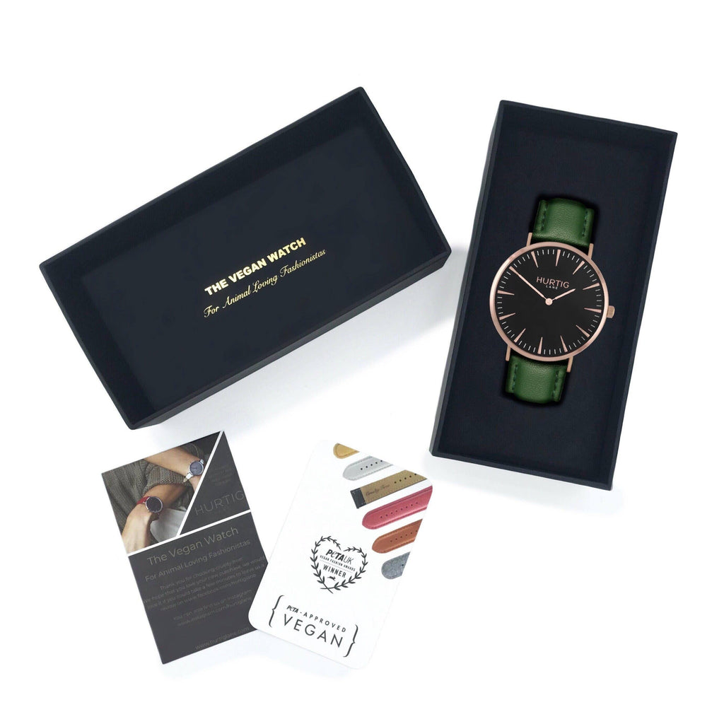 Vegan watch gift set Rose gold/black with vegan leather green straps