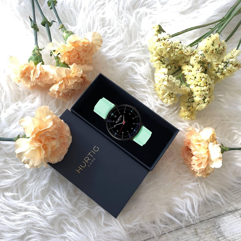 women's vegan watch black and mint