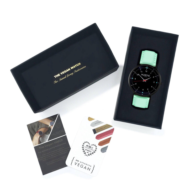 vegan watch black and mint green