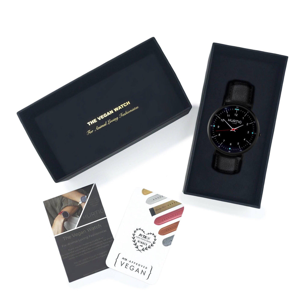 vegan watch gift set black vegan leather watch
