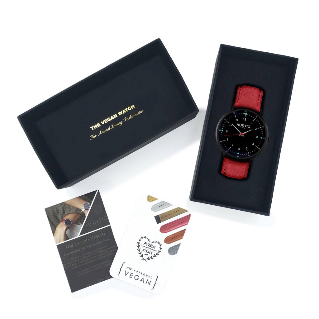 Vegan watch gift set black and red