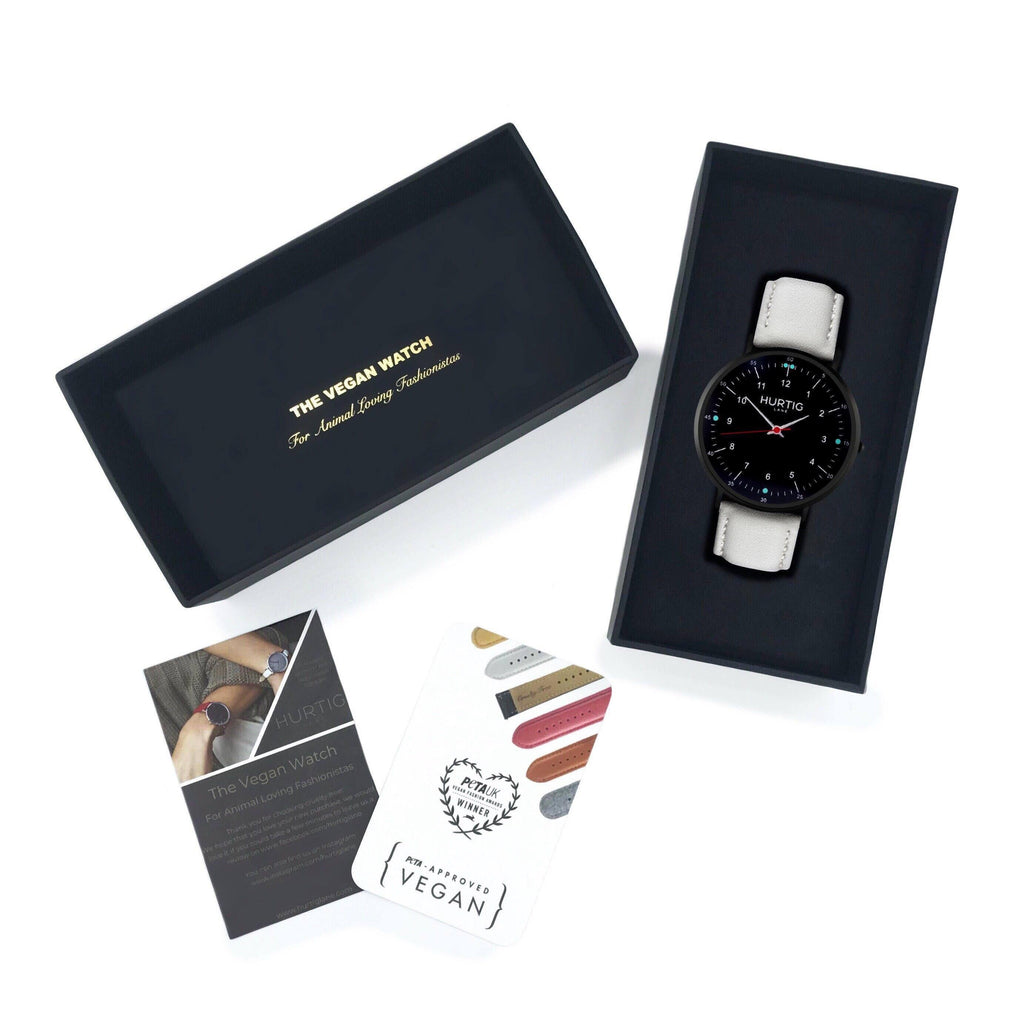 vegan friendly gift set. vegan watch in black and grey