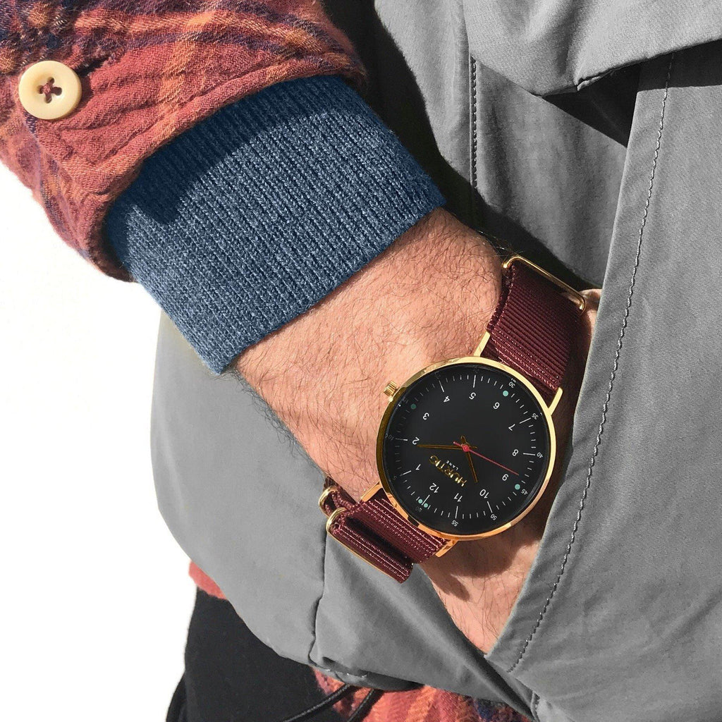 men's nato watch, gold & maroon