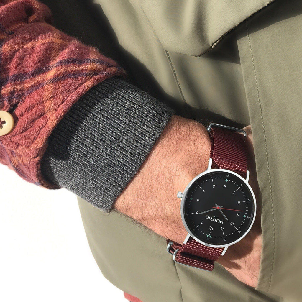 men's vegan outfit and watch