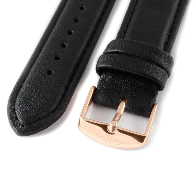 Black and Rose Gold Vegan Leather Strap watch strap Hurtig Lane Vegan Watches