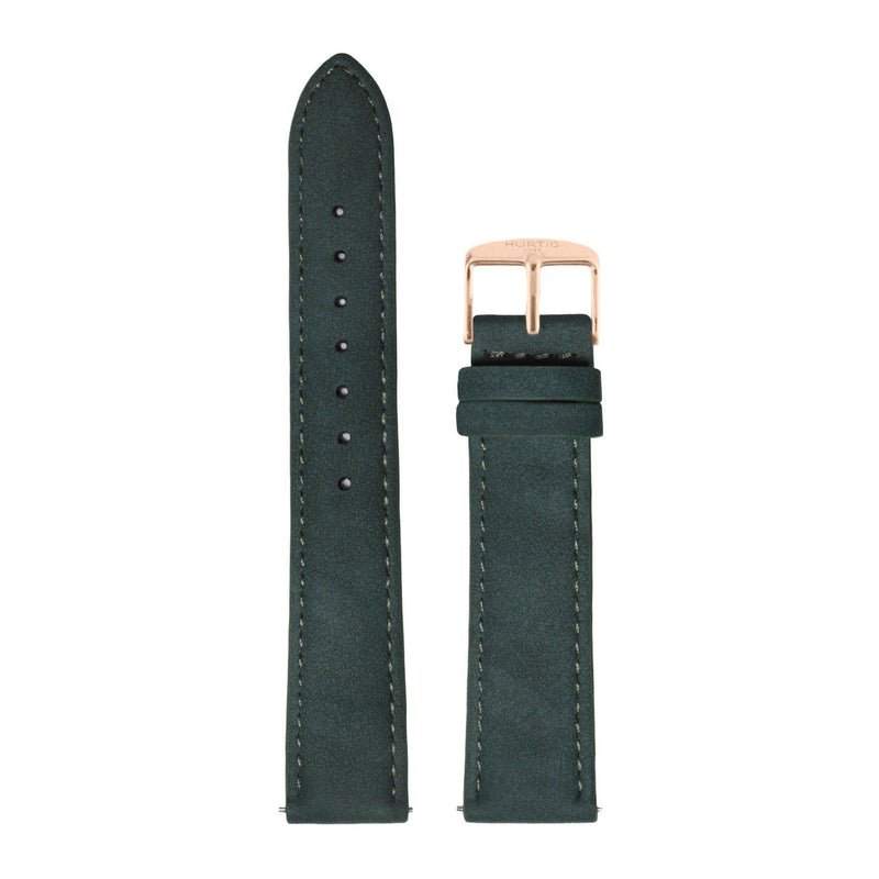 Forest Green and Rose Gold Vegan Suede Strap watch strap Hurtig Lane