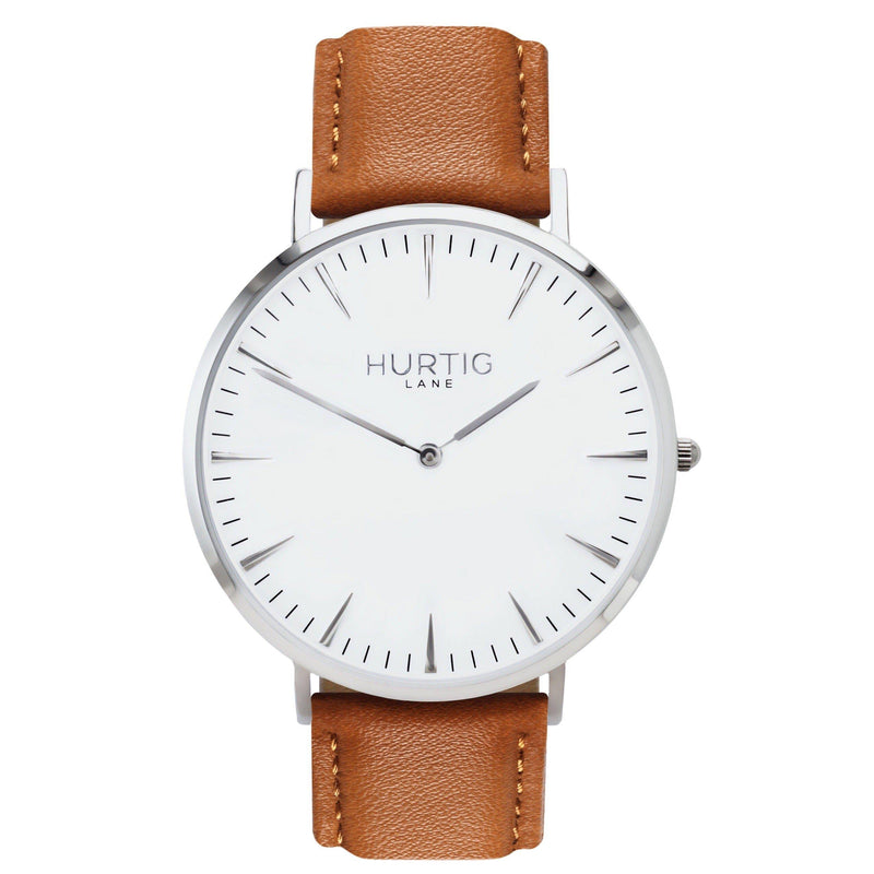 Mykonos Vegan Leather Silver/White/Tan - hurtig-lane-vegan-watches