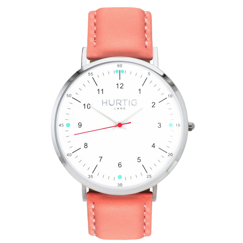 Moderna Vegan Leather Silver/White/Cherry Red - hurtig-lane-vegan-watches