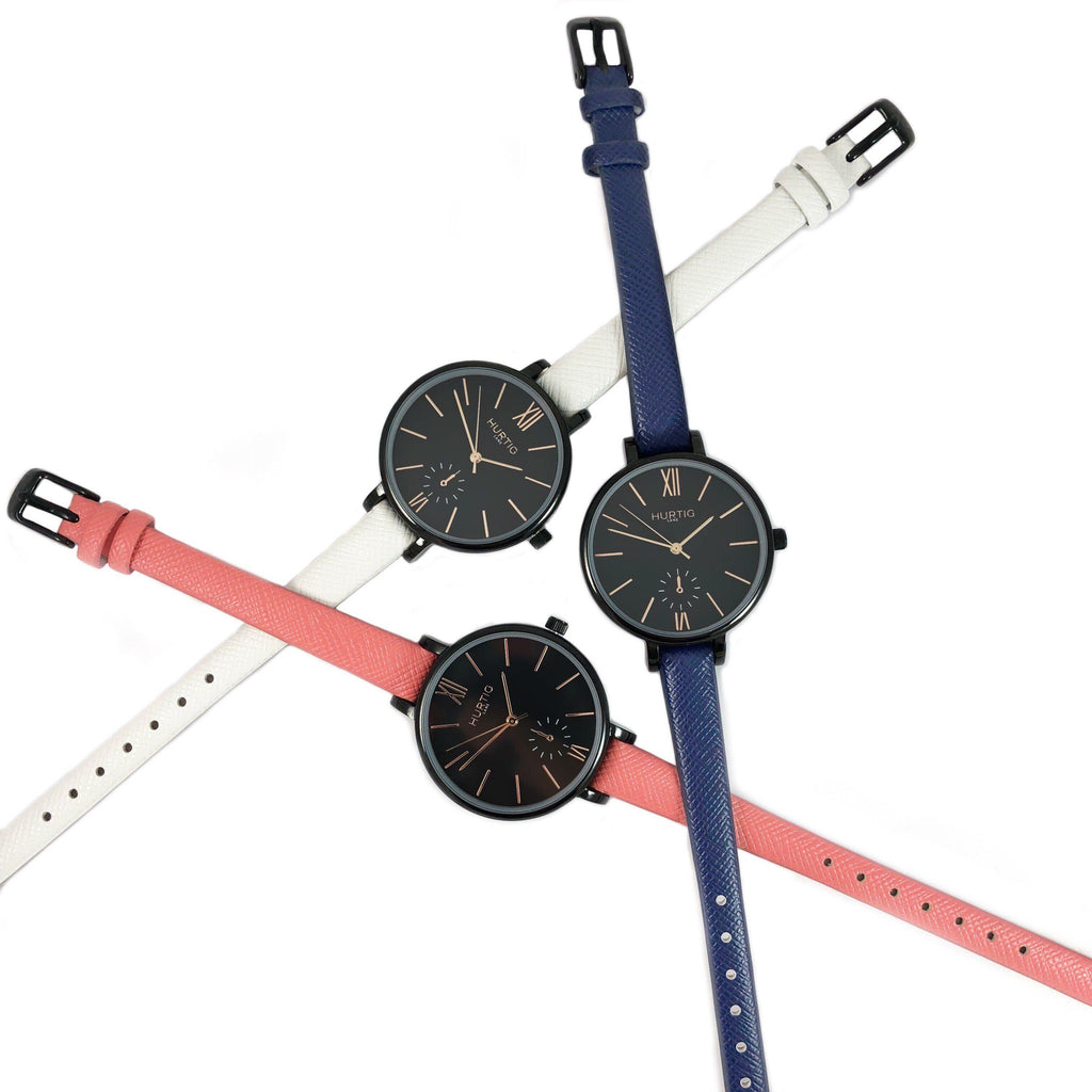 Amalfi Petite Vegan Leather Black/Black/White Watch Hurtig Lane Vegan Watches