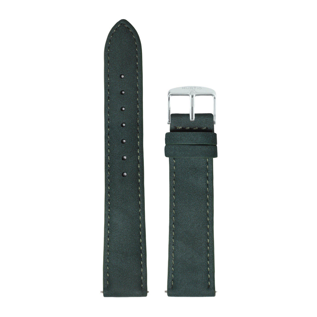 Hymnal Forest Green and Silver Vegan Suede Strap-hurtig-lane-vegan-klocka