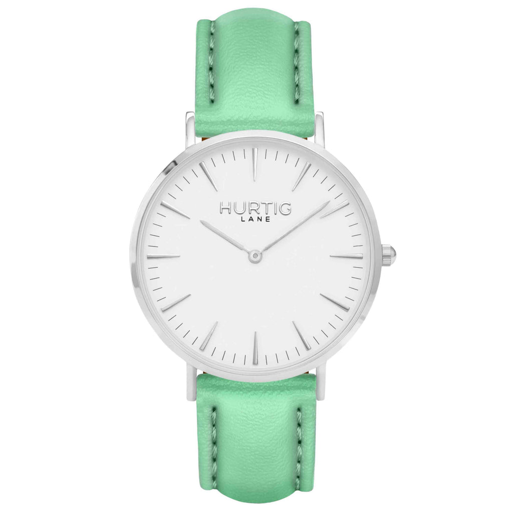 Vegan leather watch silver, white and mint- hurtig lane- vegane uhren