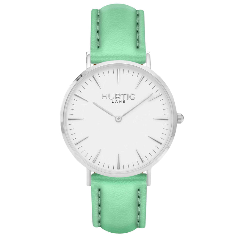 hurtig lane vegan watch silver, white and mint- vegane uhr