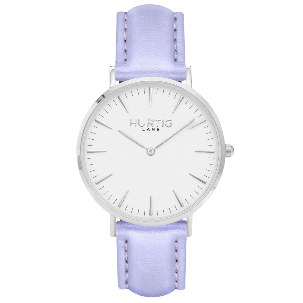 Vegan leather watch silver, white and lilac- hurtig lane- vegane uhren