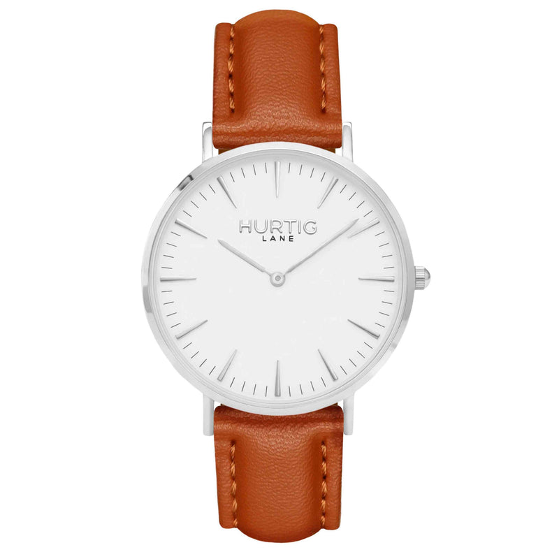 Vegan leather watch silver, white and tan- hurtig lane- vegane uhren