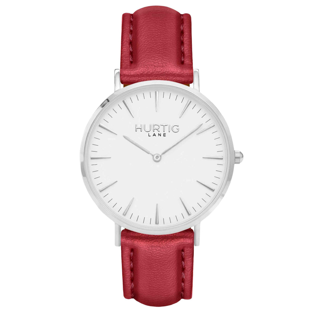 Vegan leather watch silver, white and red- hurtig lane- vegane uhren