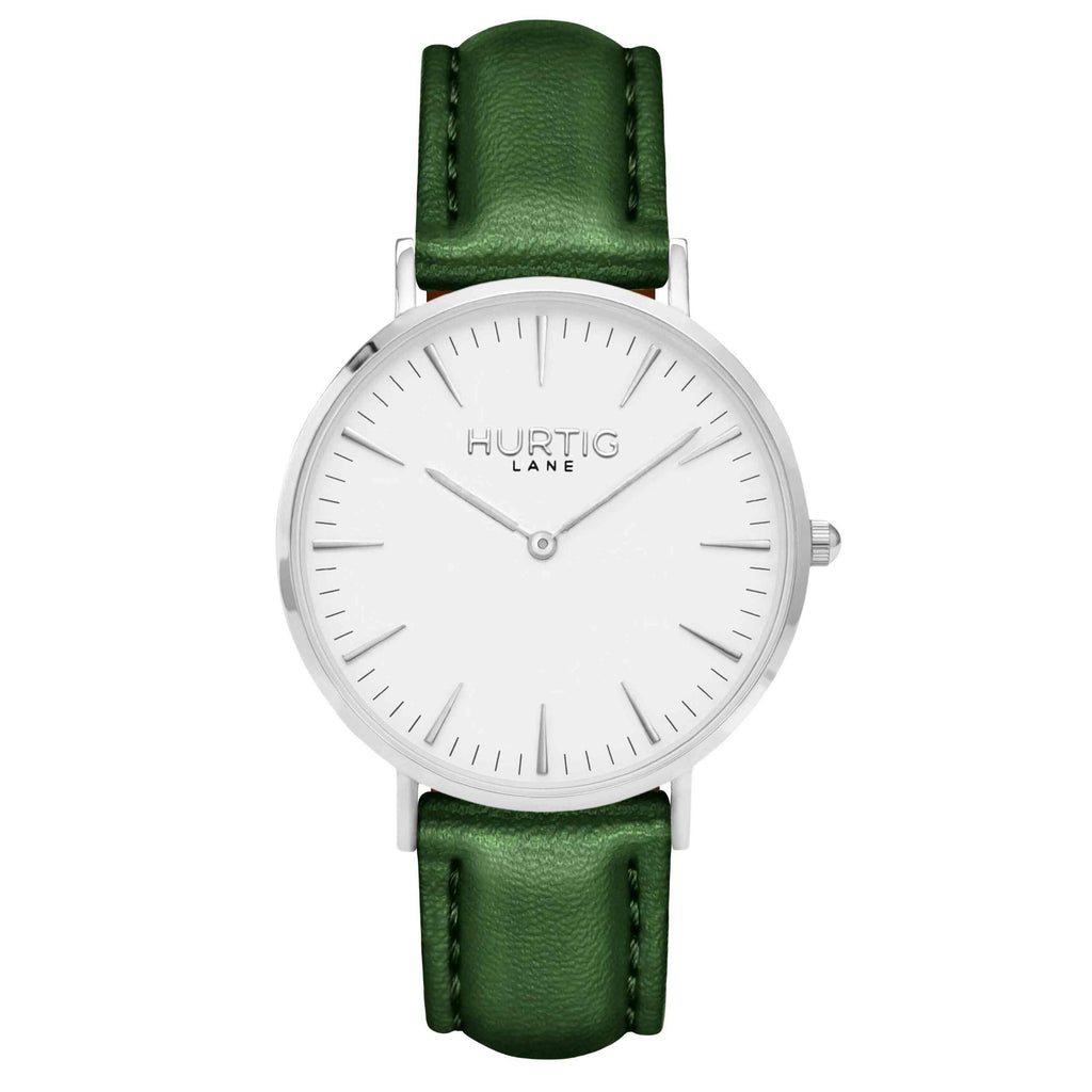 Vegan leather watch silver, white and green- hurtig lane- vegane uhren