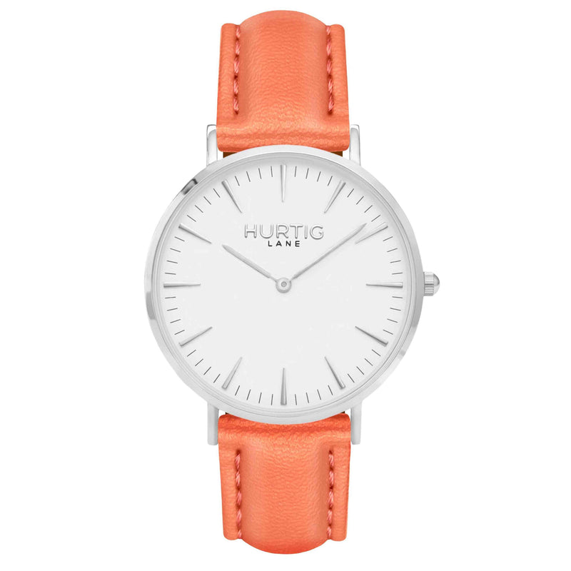 Vegan leather watch silver, white and coral- hurtig lane- vegane uhren