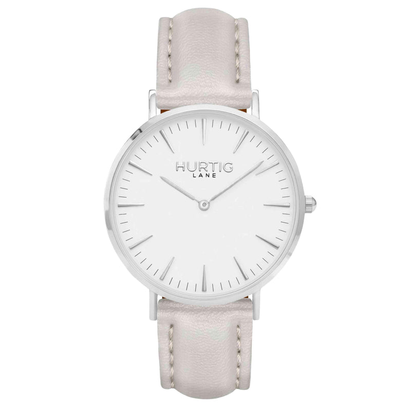 hurtig lane vegan watch silver, white and grey- vegane uhr