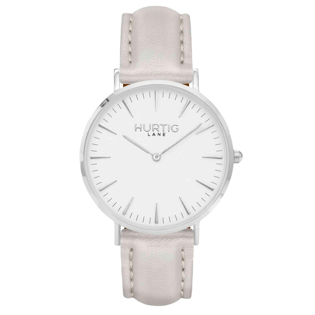 Vegan leather watch silver, white and grey- hurtig lane- vegane uhren