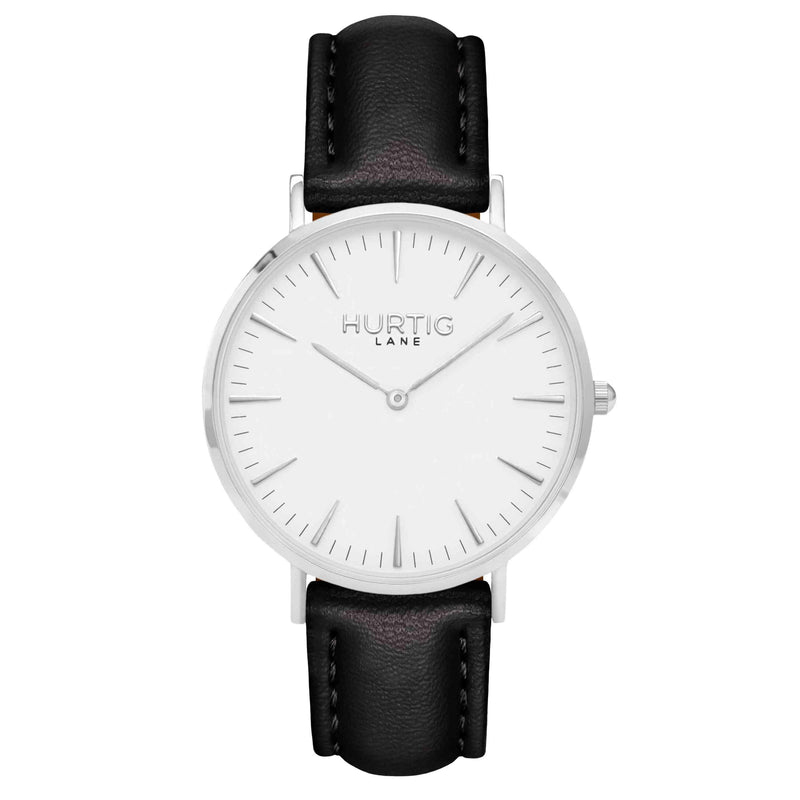 Vegan leather watch silver, white and black- hurtig lane- vegane uhren