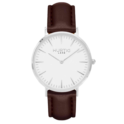Vegan leather watch silver, white and chestnut brown- hurtig lane- vegane uhren