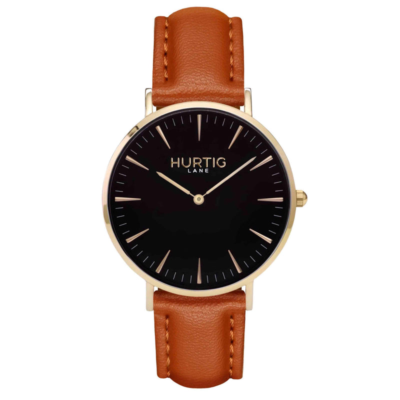 Mykonos Vegan Leather Watch Gold, Black and tan Watch Hurtig Lane Vegan Watches