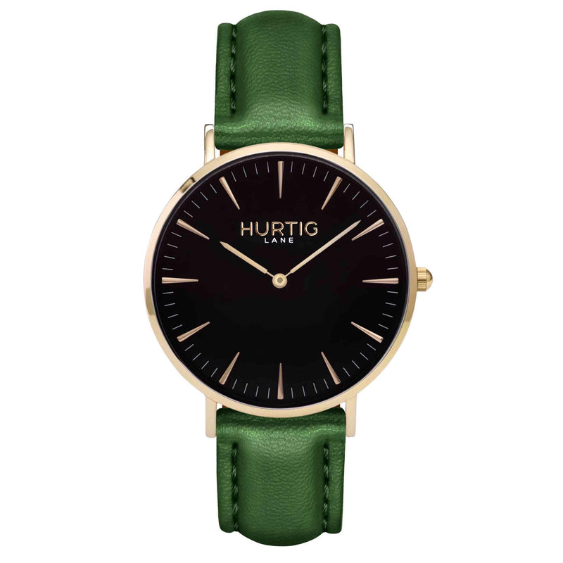 Mykonos Vegan Leather Watch Gold, Black and green Watch Hurtig Lane Vegan Watches