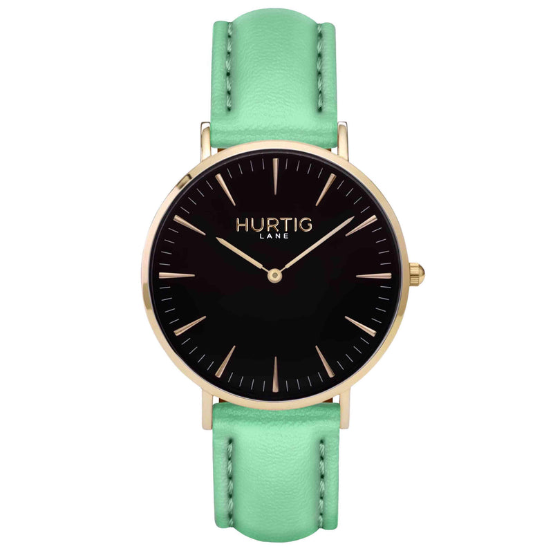 Mykonos Vegan Leather Watch Gold, Black and mint Watch Hurtig Lane Vegan Watches