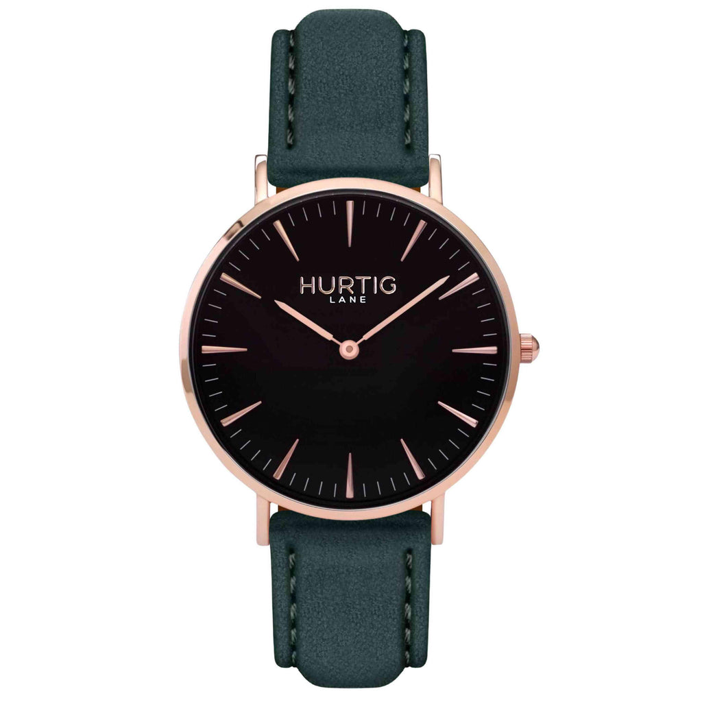 Hymnal Vegan Suede Watch Rose Gold, Black & Forest Green - Hurtig Lane - sustainable- vegan-ethical- cruelty free