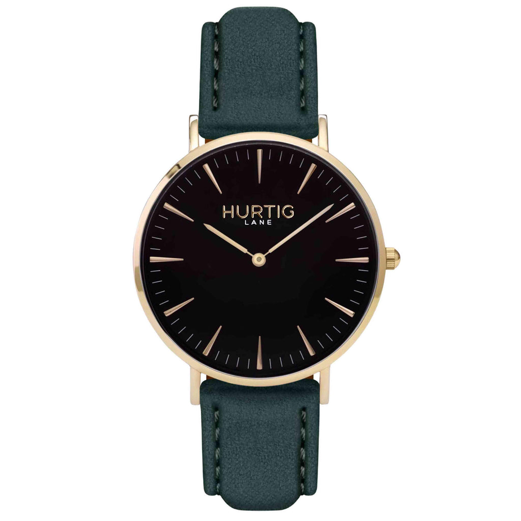 Hymnal Vegan Suede Watch Gold, Black & Forest Green - Hurtig Lane - sustainable- vegan-ethical- cruelty free